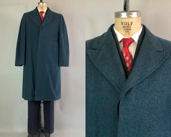 Vintage 1950s Mens Coat | 50s Deep Turquoise Wool Overcoat with Subtle Plum Purple Windowpane Pattern and Peak Lapels | Large