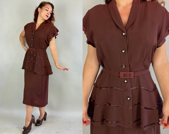 1940s Sweet Decadence Dress | Vintage 40s Chocolate Brown Rayon Crepe Cocktail Frock w/Peplum Satin Accents and Rhinestones | Extra Large XL