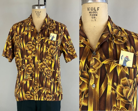 1950s Golden Hibiscus Hawaiian Shirt | Vintage 50s Cotton Top-Loop Tiki Shirt in Vibrant Yellow and Brown with Flowers and Stripes | Large