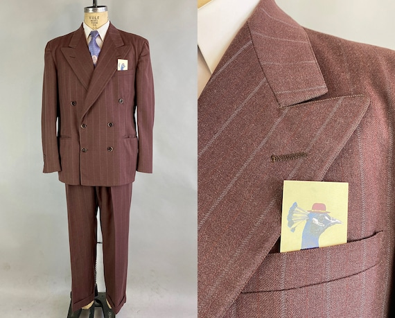 1940s Devastating Daniel Suit | Vintage 40s Deep Mauve Wool White and Red Stripe Peak Lapel Jacket and Trousers | Size 44 Extra Large XL