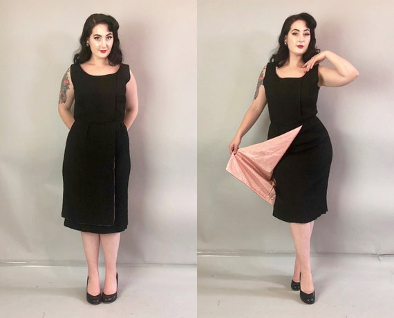 1950s Black Cocktail Dress | Vintage 50s Crinkly Crepe Day to Night Dress w/ Pink Acetate Lining & Wrap Skirt Flare with Tiered Hem | Medium