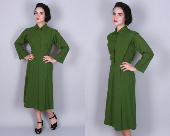 1940s Dress | Vintage 40s Olive Green Wool Crepe Day Dress with Self Buttons | Small