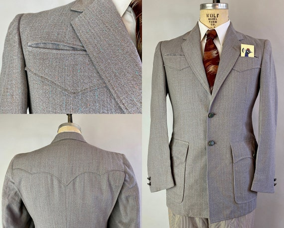 1950s Western Wayne Jacket | Vintage 50s Grey Brown Wool with Turquoise and Peach Flecks Blazer Sport Coat w/Leather Buttons | Size 36 Small