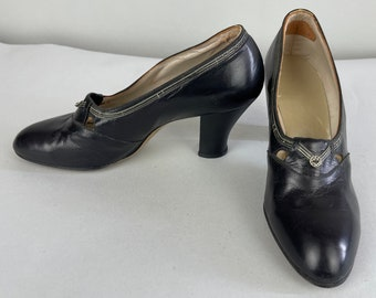 1930s Alluring Audrey Pumps | Vintage 30s Black Leather with Silver Stripes and Medallion High Heel Slip On Shoe with Cut Outs | Size 6.5