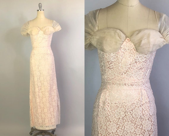1940s Dainty Floral Lace Gown | Vintage 40s Day to Night Cream Linen Lace & Pink Silk Satin Garden Party or Evening Dress | XS Extra Small