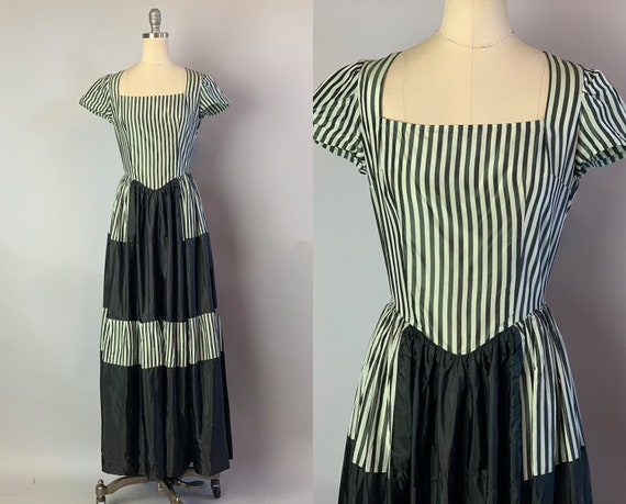 1930s Striped Vaudeville Dress | 30s Grey & White Silk Taffeta Edwardian Style Gown with Grayscale Color Block Panels | XS Extra Small