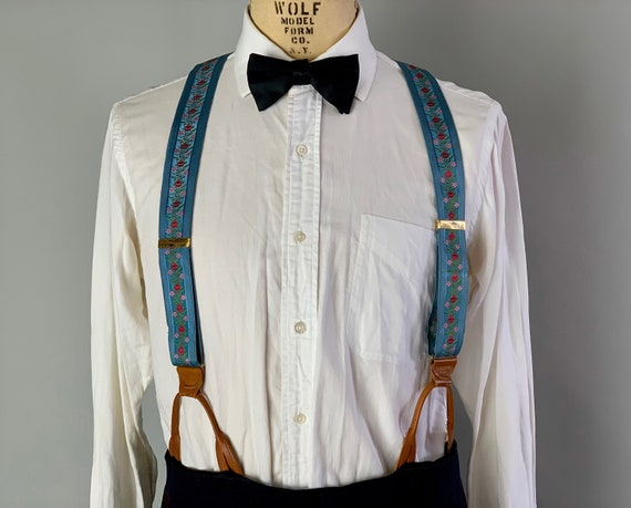 "1950s English Wedding Braces | Vintage 50s Blue Suspenders w/Pink Red & Green Floral Embroidery and Leather Button Tabs by ""The Regent Belt"""
