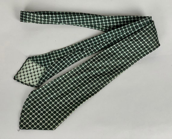 Vintage 1930s Dapper Dan Necktie | Vintage 30s Woven Black Circles and Green Diamonds Silk Tie with Silver Outlines