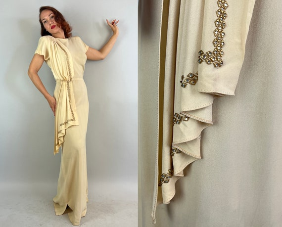 1940s Grecian Goddess Gown | Vintage 40s Rayon Crepe Floor Length Dress with a Keyhole Back and Long Rhinestone Studded Sash | Medium/Large