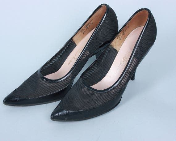 "Vintage 1950s 1960s Shoes | 50s 60s Vampy Black Patent Leather and Sheer Mesh Stiletto Heels by ""Erins"" 
