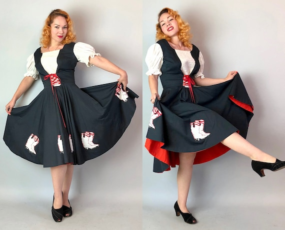 1950s Western Stage Dress | Vintage 50s Two Tone Cotton Full Circle Skirt w/ Cowboy Boot Appliqués and Red Corset Tie Waist | Medium/Large