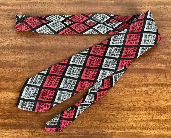 Vintage 1940s 1950s Mens Necktie   40s 50s Acetate Red Black and Grey Gray Woven Plaid Bias Striped Squares Atomic Tie