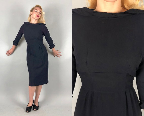1940s Boatneck Rayon Crepe Dress | Vintage 40s Little Black Sheath Dress W/ Great Rollover Collar & Cuffs Day-to-Night Cocktail LBD | Medium
