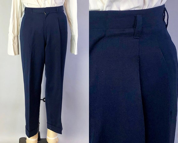 Vintage 1950s Trousers | 50s Navy Blue Wool Gabardine Slacks with Dropped Belt Loops Front Pleats & Pants Cuffs | Size 30 Small