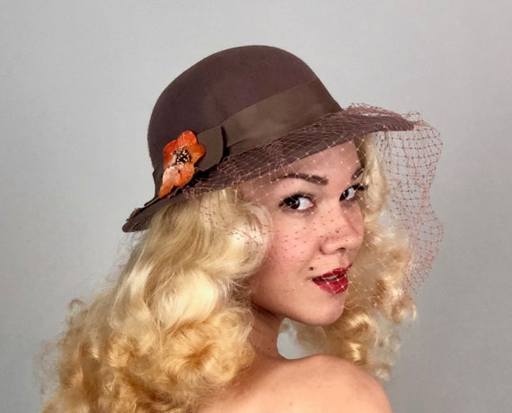 "Vintage 1980s Does 1930s Hat | NOS 80s Does 30s Taupe Brown Wool Fedora with Orange Flower and Mauve Net Veil by ""Lancaster"" with Tags"