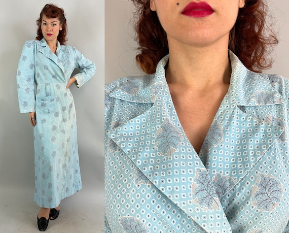 1940s Lovely Lounge Robe | Vintage 40s Blue White Grey Diamond Leaf Fronds Cotton Coverup Dressing Hostess Gown with Pocket | Medium Large