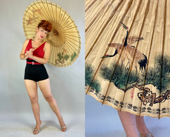 1930s Bird Paradise Parasol | Vintage 30s Tea Stain Brown Paper Sun Umbrella with Painted Cranes Sparrows Swallows Kanji and Bamboo Handle