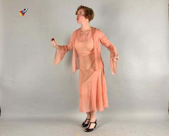 1920s 1930s Silk Chiffon Dress Set   Vintage 20s 30s Enchanting Summer's Eve Peach Dress Set w/ Matching Jacket & Art Deco Details   Medium