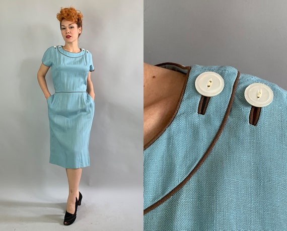1950s Dandy Donna Day Dress   Vintage 50s Robins Egg Blue Linen Frock with Chocolate Brown Piping and Mother of Pearl Buttons   Large