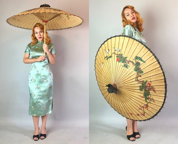 1930s Cranes & Cherry Blossom Parasol | Vintage 30s Wheat Yellow Brown Bonsai Paper and Wood Large Sun Umbrella with Bamboo Wooden Handle
