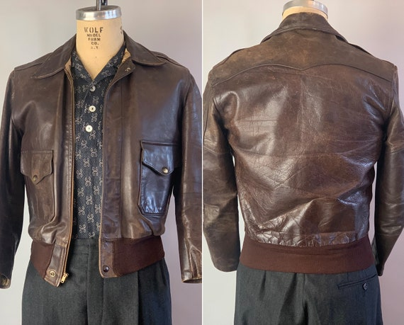 1940s Fly Boy A-2 Leather Jacket | Vintage 40s Dark Espresso Brown Horsehide Air Force Style Coat w/Knit Waistband and Peaked Yoke | Small