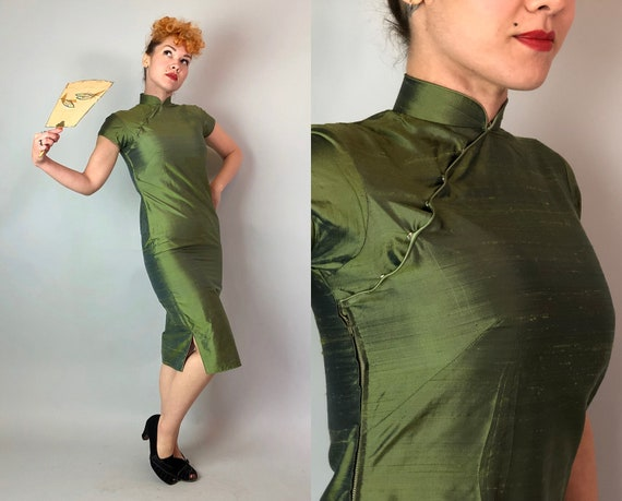 1950s Olive Green Cheongsam | Vintage 50s Silk Cap Sleeve QiPao Traditional Chinese Dress by 'Lee Tak Hung Tailor' with Blue Sheen | Small