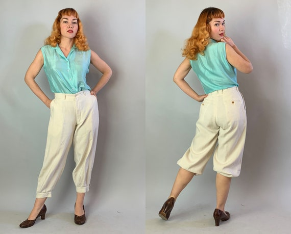 1920s Sassy and Sporting Knickerbockers | Vintage 20s White Linen Plus Fours Trousers Pants w/Button Fly Patented Knick Lok Tabs | Medium