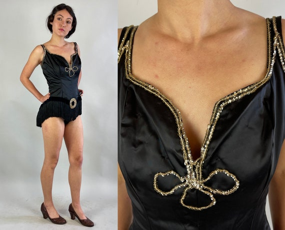 1950s Hoochie Coochie Hottie One Piece   Vintage 50s Black Rayon Satin Leotard with Fringe and Sequins Showgirl Burlesque Costume   Small