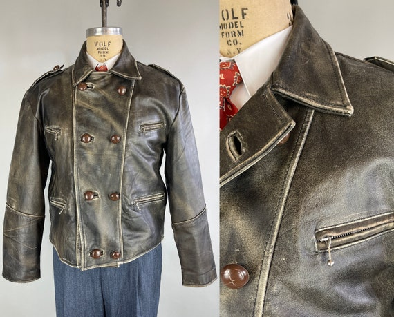 1950s Mad Max Motorcycle Jacket   Vintage 50s Iron Grey Leather Double-Breasted Button Up Moto Flight Jacket with Great Steel Zips   Large