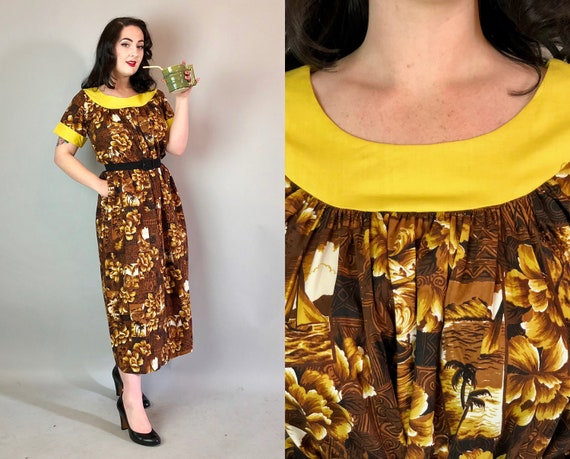 Vintage 1940s Tiki Dress | 40s Yellow & Brown Cotton Muumuu w/ Flowers, Islands, and Ships Made in Hawaii w/ Pocket! | XS Extra Small/Small