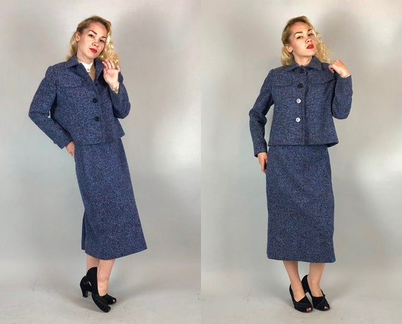 Vintage 1960s Suit | 60s Mid Century Slubby Black Purple & Blue Wool Tweed Skirt and Jacket Two Piece Set Jackie O Chanel Style | Small