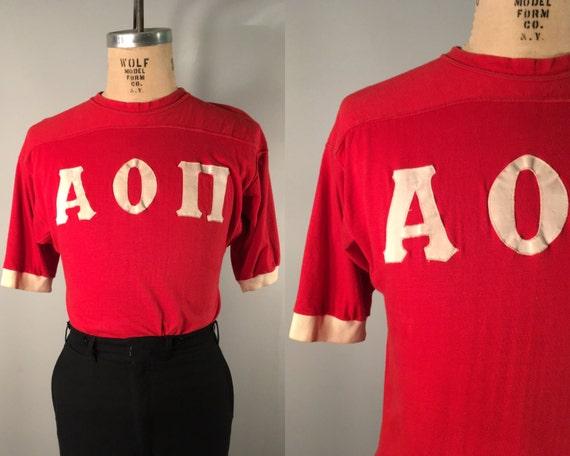1960s Collegiate Frat Men's Shirt | Vintage 60s Rare Red & White Ringer College Fraternity Sport Jersey T-Shirt | Small