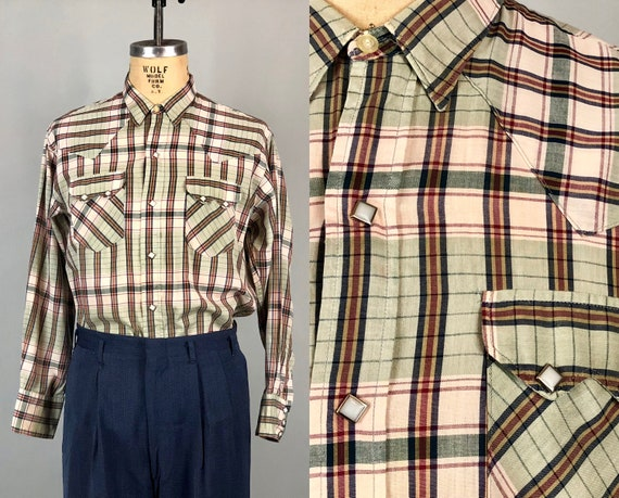 1950s Western Shirt | Vintage 50s Great Green, Gold, Red, Beige Plaid Cotton Shirt With Double Yoke Flap Pockets & Diamond Snaps | Large