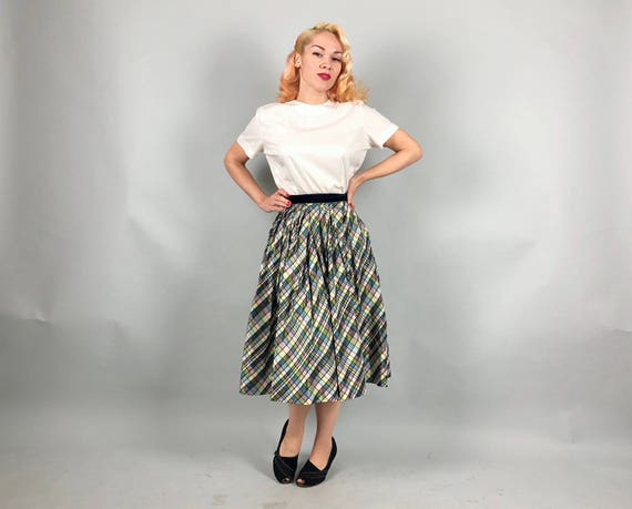 Vintage 1950s Skirt | 50s Variegated Petal Pink, Ice Blue, Pale Chartreuse Yellow, and Black Pleated Taffeta Party Skirt | Extra Small XS
