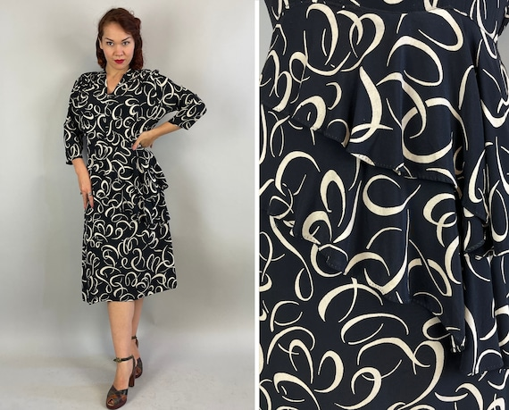 1940s Curls and Swirls Dress | Vintage 40s Black and White Rayon Asymmetric Double Peplum Frock with Shoulder Smocking | Large