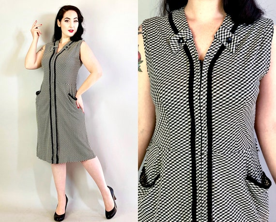1940s Rayon Jersey Dress | Vintage 40s Black & White Gingham Sundress w/ Zip Front, Button Tabs, and Pockets! | Extra Large XL Volup