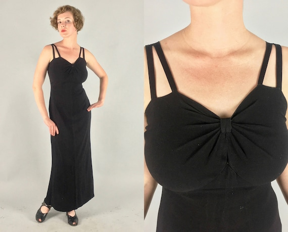 1930s Sultry Evening Gown  | Vintage 30s Gorgeous Black Wool Crepe Slinky Vampy Bias Cut Cocktail Dress LBD | Small Medium