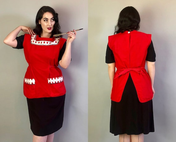 Vintage 1950s Apron | 50s Cherry Red Cotton Baking Pinafore Smock with Cherries and Black & White Rick Rack Pockets! | One Size