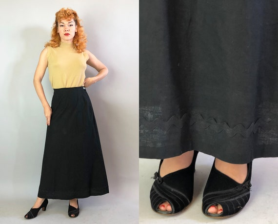 1940s Rickrack Trim Skirt | Vintage 40s Black Cotton A-Line Full Length Skirt w/Button Waist Band and Metal Side Zipper | Medium