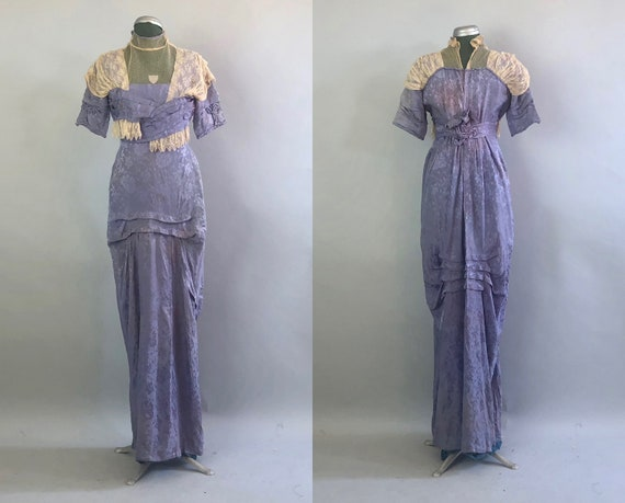 Lavender Art Nouveau 1910s Dress | Vintage Teens Purple Brocade Silk Garden Party Dress with Beige Mesh Lace & Bust Pleats | Extra Small XS