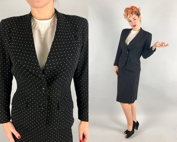 1940s Pindot Embroidered Suit | Vintage 40s 'Bonwit Teller, Inc.' Black and Pale Antique Gold Summer Wool Crepe Blazer & Skirt Set | Small