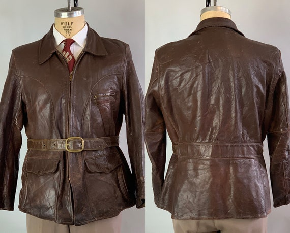 1930s Dandy Delinquent Leather Jacket | Vintage 30s Brown Motorcycle Jacket w/ Belted Back & Optional Full Belt with Brass Hardware | Medium