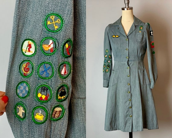 1940s Girl Scout Uniform | Vintage 40s Heathered Sage Green Cotton Day Dress  with Merit Badges and Three Pockets! | XS Extra Small