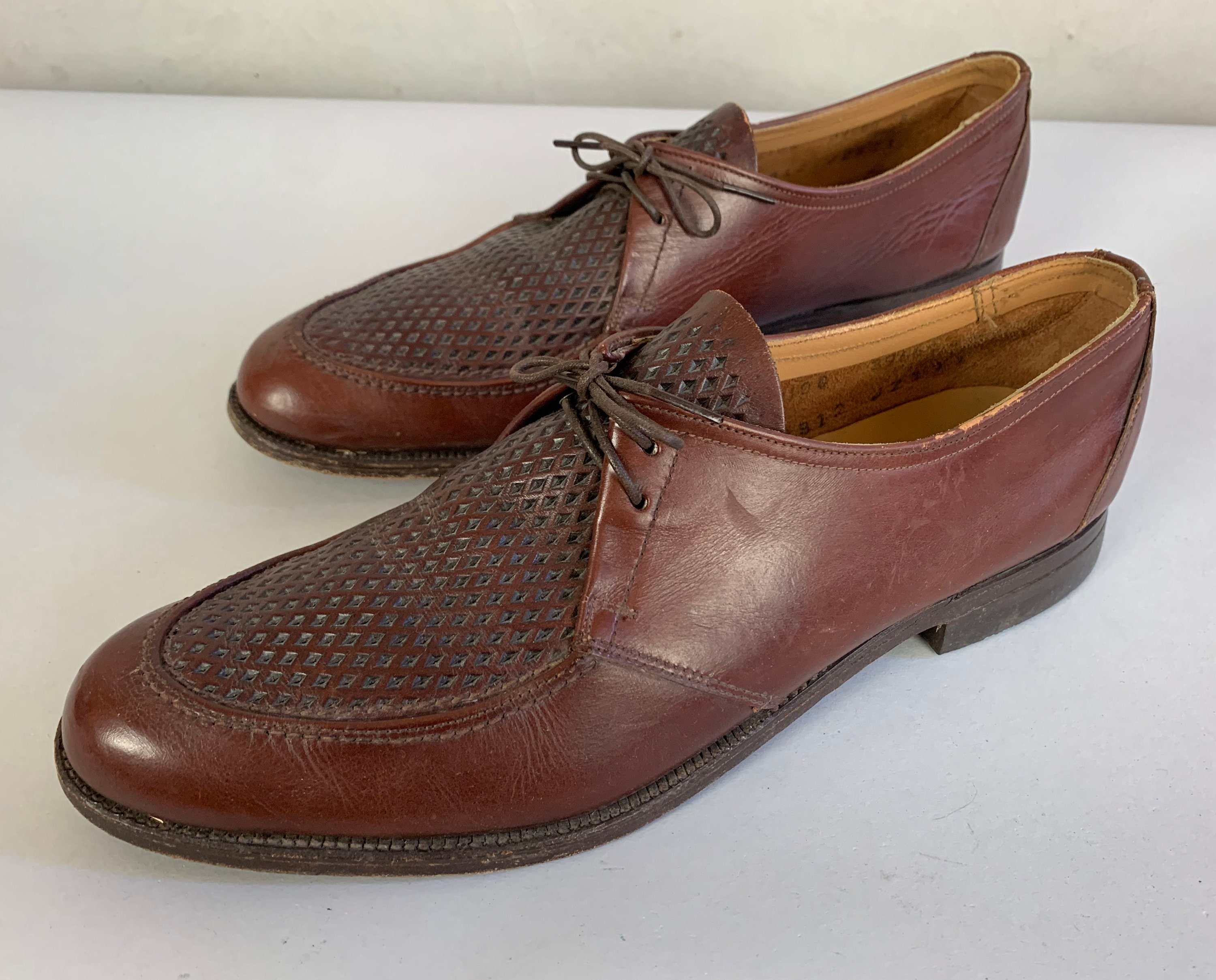 68b715f6b70fc 1940s Perry's Picnic Shoes | Vintage 40s All Leather Toffee Brown Apron Toe  Summer Look Oxfords with Faux Ventilation Texture | Size US 8