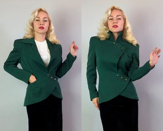 Vintage 1940s Jacket | 40s Emerald Green Wool Gabardine Blazer w/Asymmetric Zig Zag Lapel Flower Buttons and Curved Pockets | Small Medium