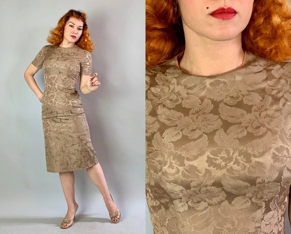 1950s Beige Beauty Dress | Vintage 50s Taupe Mushroom Brown Silk Brocade Evening Cocktail Pencil Frock w/Classic Flowers and Foliage | Small