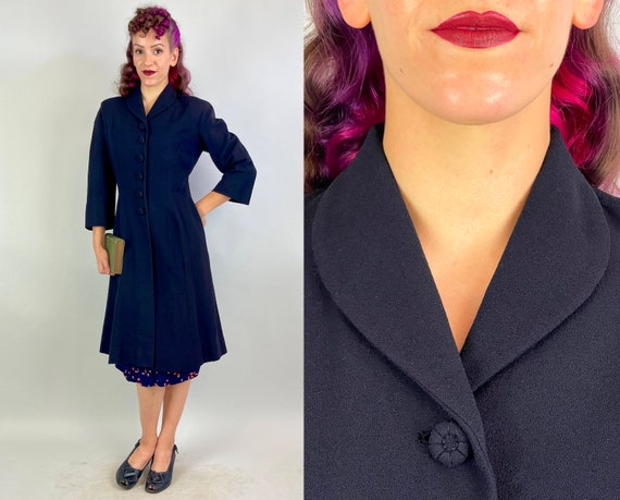 1940s Cathy's Chill Coat | Vintage 40s Navy Blue Wool Crepe Shawl Collar Self Fabric Button Overcoat Long Jacket with Shapely Gores | Small