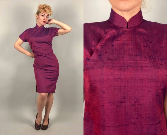 1950s Magenta Shantung Cheongsam | Vintage 50s Pink Purple and Navy Blue Slub Silk Cap Sleeve Cocktail Evening Dress | Small