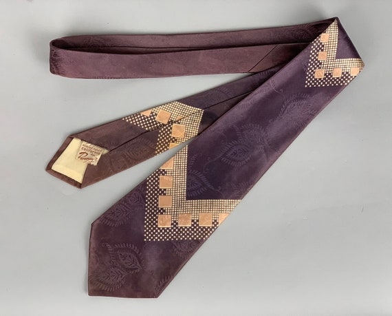 """1940s Dapper Dan Necktie   Vintage 40s """"Penney's"""" Lilac Silk Brocade Tie with Geometric Designs in Peach & Cream and Embossed Leaf Patterns"""