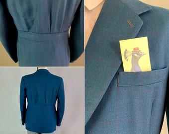 1930s Belted Back Jacket | Vintage 30s Deep Teal & Maroon Windowpane Plaid Wool Single Breasted Blazer | Size 42 Large